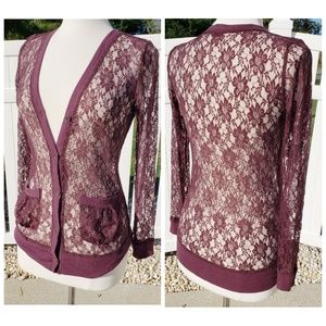 Forever 21 Burgundy Maroon Lace Button Top Size M
